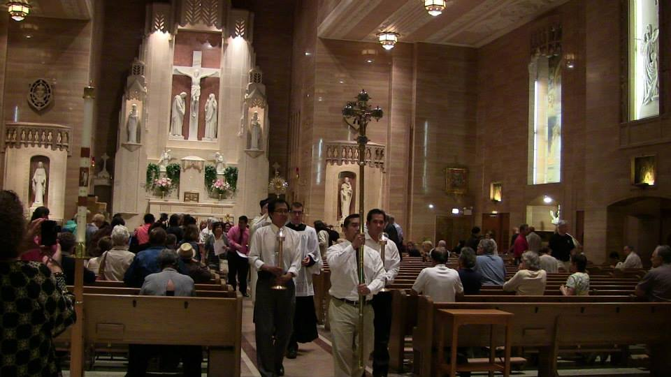 View Full Size Procession begins in St. Peter's Church in downtown Chicago